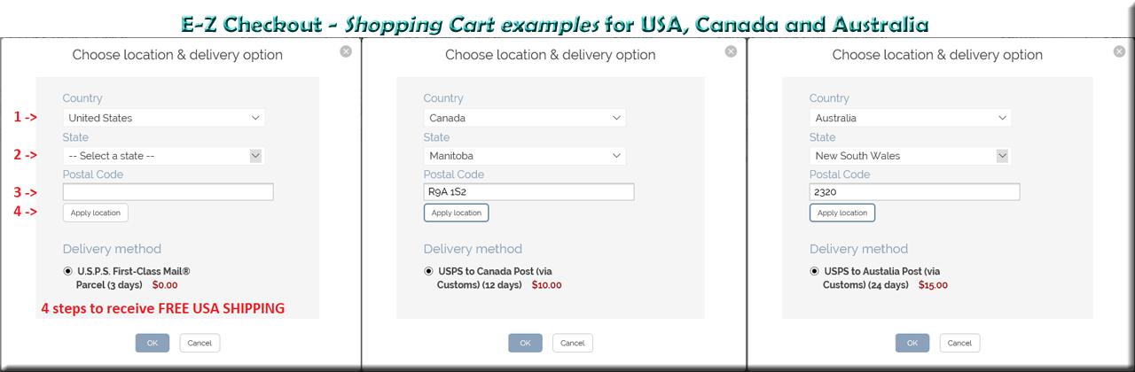 SAMPLE SHOPPING CARTS for USA, CANADA & AUSTRALIA