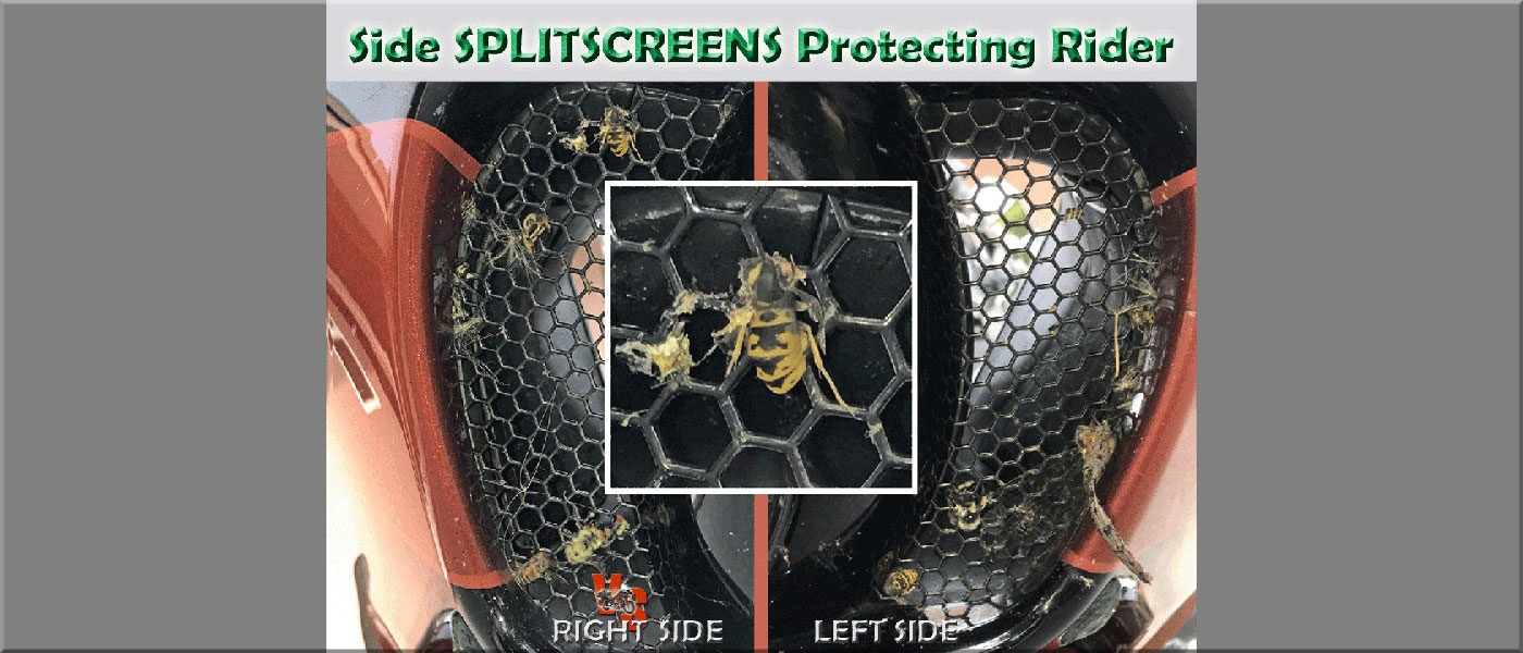Side SPLITSCREENS  preventing Large Insects and debris from striking Rider!