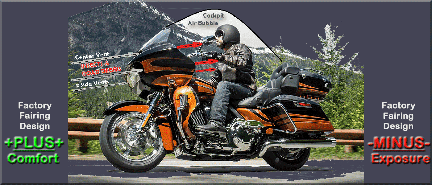 Stock Fairing Vents eliminate Buffeting but expose rider to Stinging Insects!