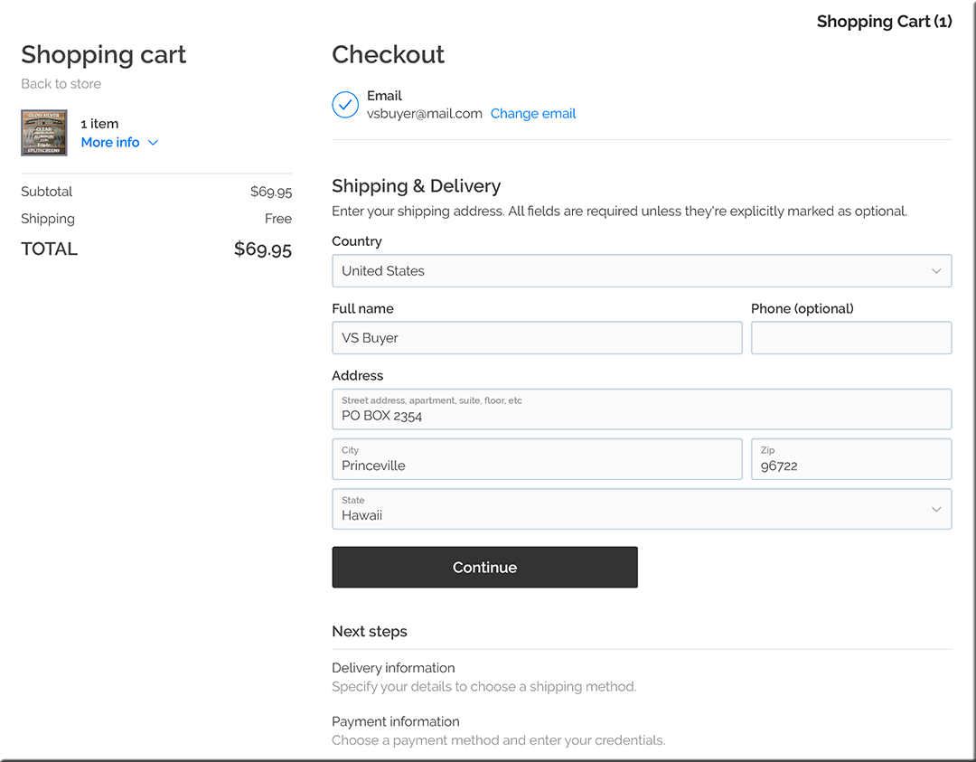 Sample Checkout Screens with instructional comments